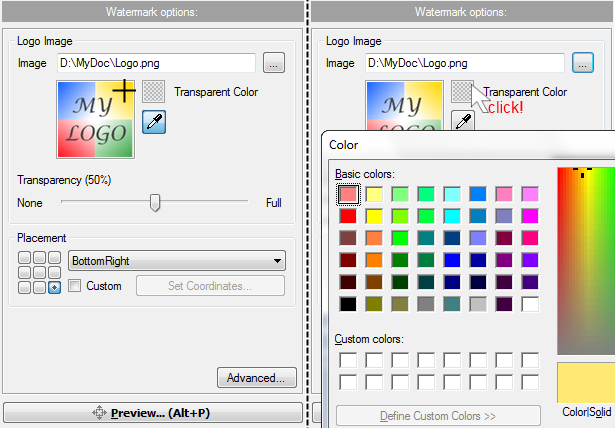 Select color to be transparent
