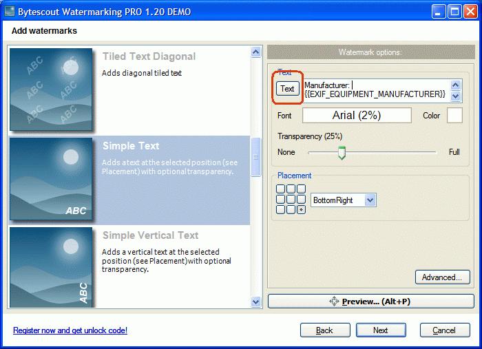 Click Text button to show up advanced text editor dialog