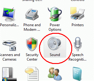 sound icon in control panel in Windows Vista