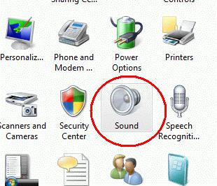 sound icon in control panel in Windows Vista