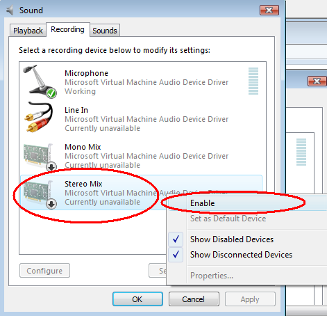 Enable Stereo Mix (disabled device) in Windows Vista