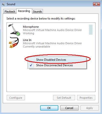 Show disabled devices in Sound Recording options dialog in Windows Vista