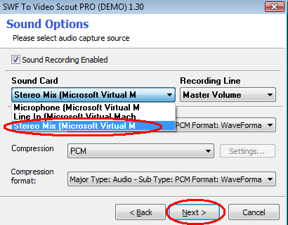 Stereo mix device in SWF To Video Scout working in Windows Vista