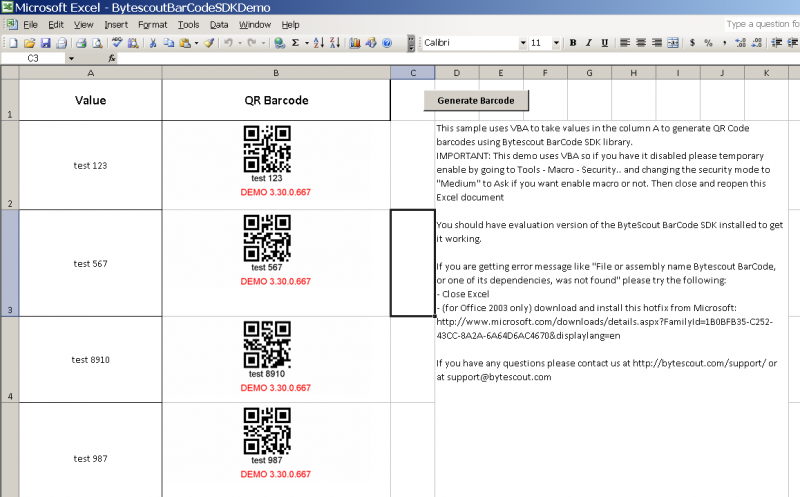 Barcodes generated in Excel using BarCode Generator SDK