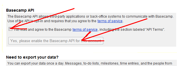Enable access to BaseCamp API checkbox and button