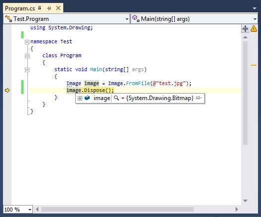 Code Window in Bitmap Visualizer in Visual Studio - click to launch the viewer