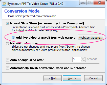 Convert PPT to AVI or WMV adding your webcam video