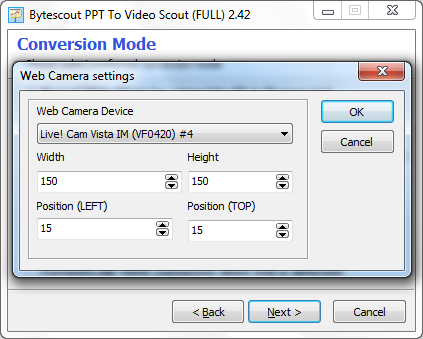 Adjust web camera settings to add live video of yourself to PowerPoint presentation